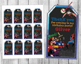 Avengers Favor Tags, Avengers Thank You Tags, Avengers Gift Tags, Avengers Tags, Avengers Tag Printables, Avengers Birthday Tags