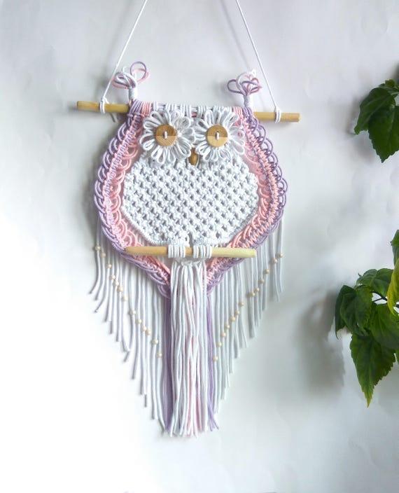 Macrame Owl Wandkleden Wand Decor Art Handgemaakte Boho Uil Etsy