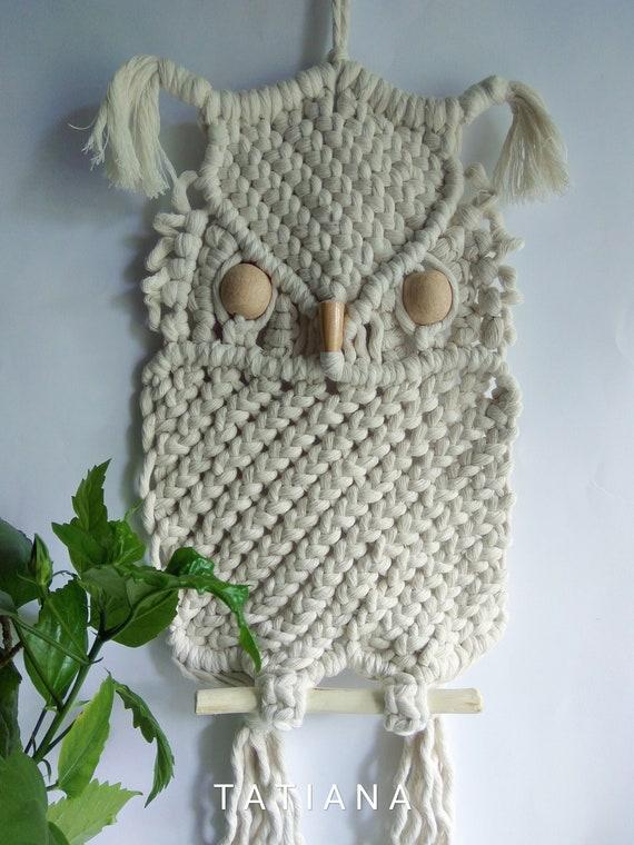 Owl Wall hangings decor Art Macrame handmade Boho,Owl white figurine lover gifts birthday,Dreamcatcher,decor home nursery kitchen,animals