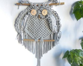 Macrame Owl Wall hangings,Wall decor Art handmade Boho,Owl gray white,Owl lover gifts,Dreamcatcher,owl decor,owl figurine,owl decor nursery