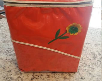 REDUCED-Fabulous Vintage 60s Cooler / Orange with Yellow Flower