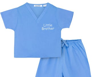 Little Brother Non-Personalized Scrubs (Available in 3 Colors. Want It Personalized? See our listing for Scoots Personalized Scrubs.)