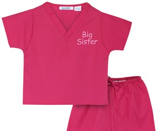 Big Sister Non-Personalized Scrubs (Available in 3 Colors. Want It Personalized? See our other listing for Scoots Personalized Scrubs.)