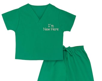I'm New Here Non-Personalized Scrubs (Available in 3 Colors. Want It Personalized? See our listing for Scoots Personalized Scrubs.)