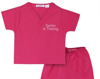 Doctor-In-Training Non-Personalized Scrubs (Available in 3 Colors. Want it Personalized? See our listing for Scoots Personalized Scrubs.)