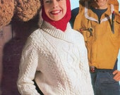 Aran Knitting Pattern Cable Shawl Collar Sweaters Jumpers 34 40 inch Aran Wool Knitting patterns PDF Instant Download
