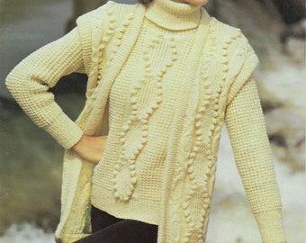 Señoras//para Hombre Tejer patrón copia para hacer Grueso Aran chaquetas Sombrero /& Bufanda 32-42