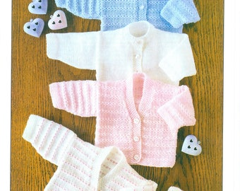 Baby Girls JACKET CARDIGAN KNITTING PATTERN Eskimo DK 12-22in Prem 2 yrs 4858