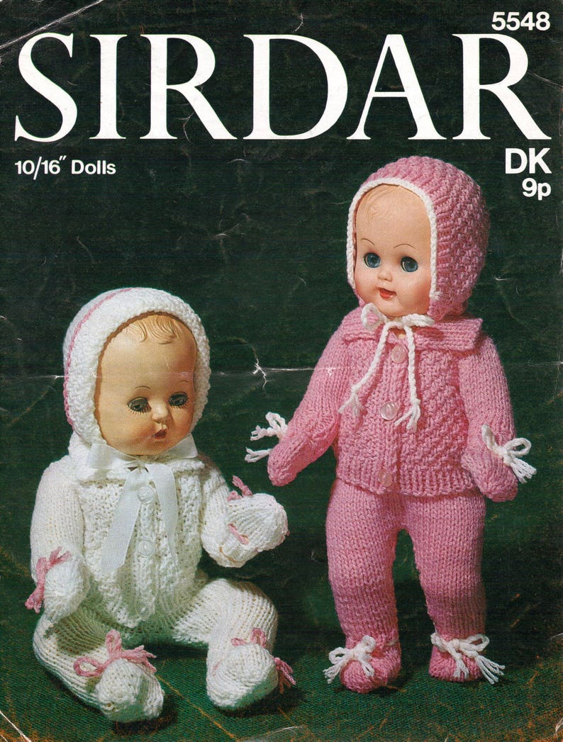 6696a843893b Vintage Baby Dolls Clothes Knitting Patterns Outfit Leggings