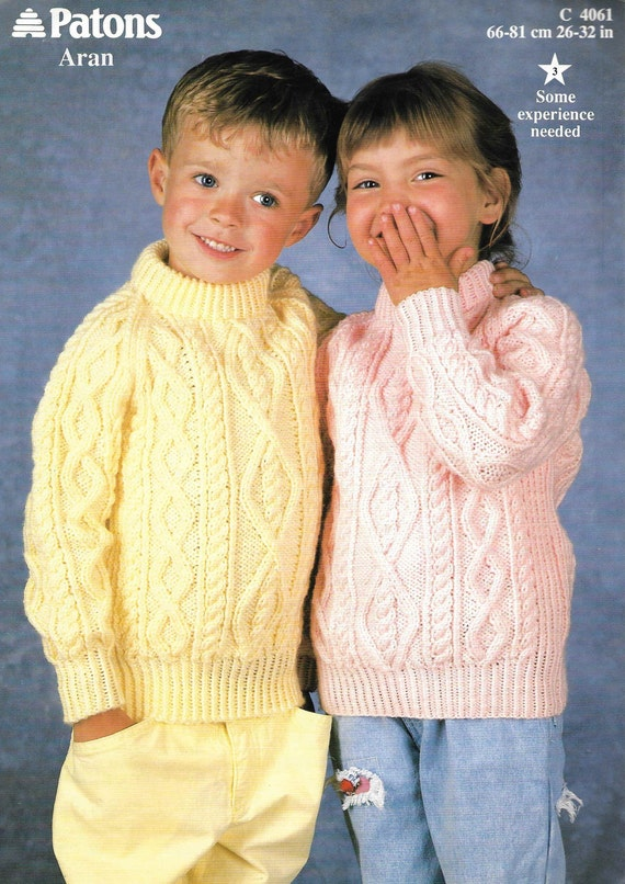 59f954030 Aran Knitting Pattern Girl Aran Boy Knitting Pattern Crew