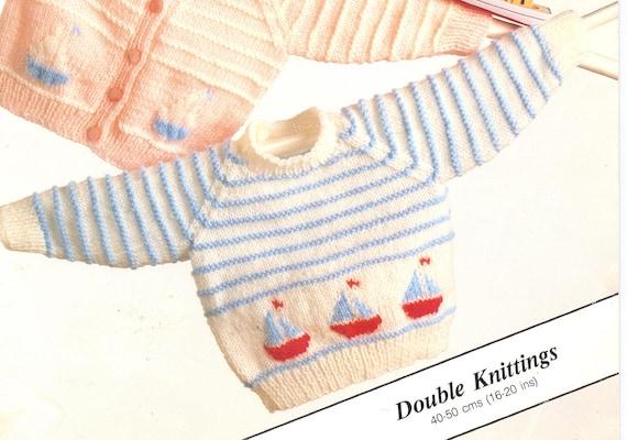 "22/"" DK Baby Knitting Pattern Nautical Yacht//Boat Motif Sweater 18/"""