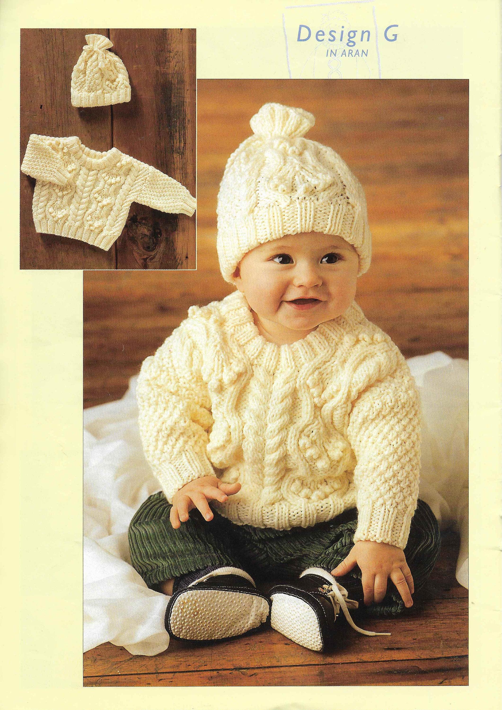 37e5ac78d90c Baby Aran Sweater Hat Set Knitting Pattern Child toddler Aran
