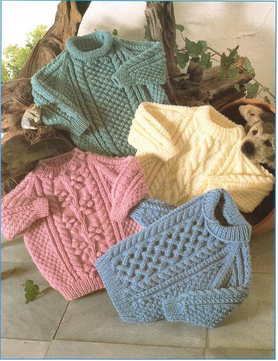 Baby Knitting Pattern Childrens Knitting Pattern Aran Sweaters Etsy