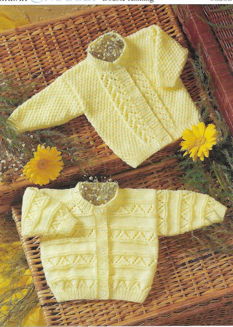 5baaea1369aa Baby Lacy Cardigans Knitting Pattern PDF Lace Cardigan DK