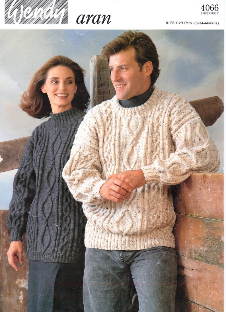 e49d3d33060e Womens Mens Aran Knitting Crew Neck Knitting Pattern PDF Aran