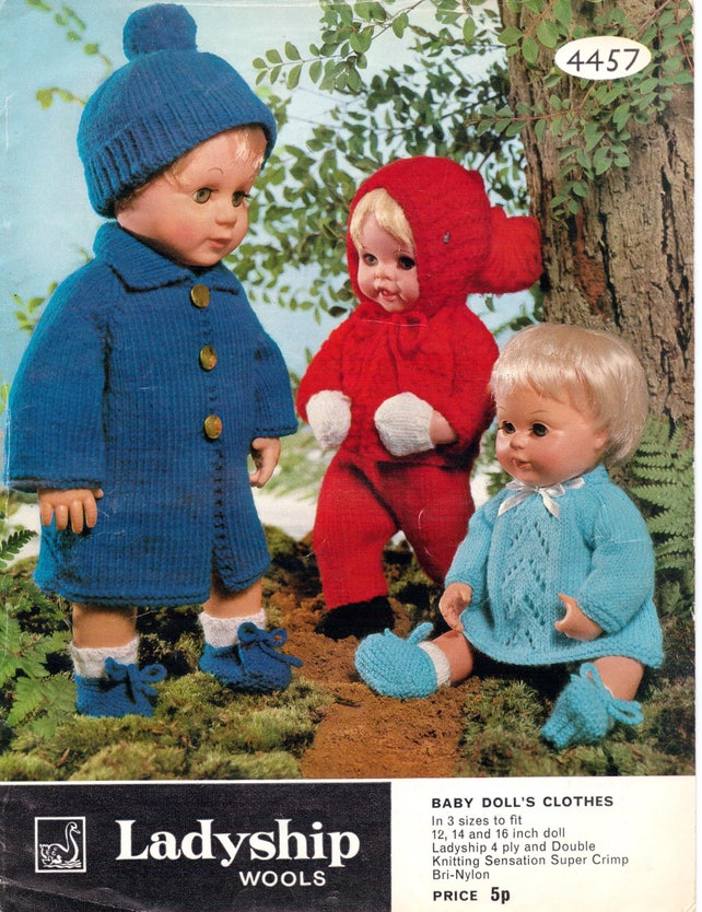 9fa0a0c8489b Baby Dolls Knitting Patterns Outfit Hat Jacket Coat Dress