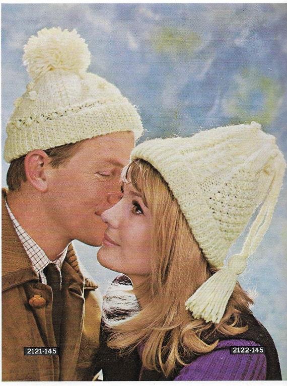 Vintage Womens Aran Hat Knitting Pattern Vintage Men Man Aran  a849928a69d