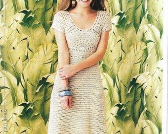 Womens Girls Crochet Dress Crochet Pattern Lace 31 - 47 inch 94 - 120 cm Ladies Crochet Dress Pattern pdf instant download