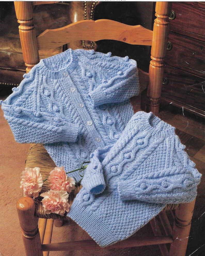 88a4ea3f87e1 Baby Bobble Sweater Cardigan Knitting Pattern Cable Cardigan