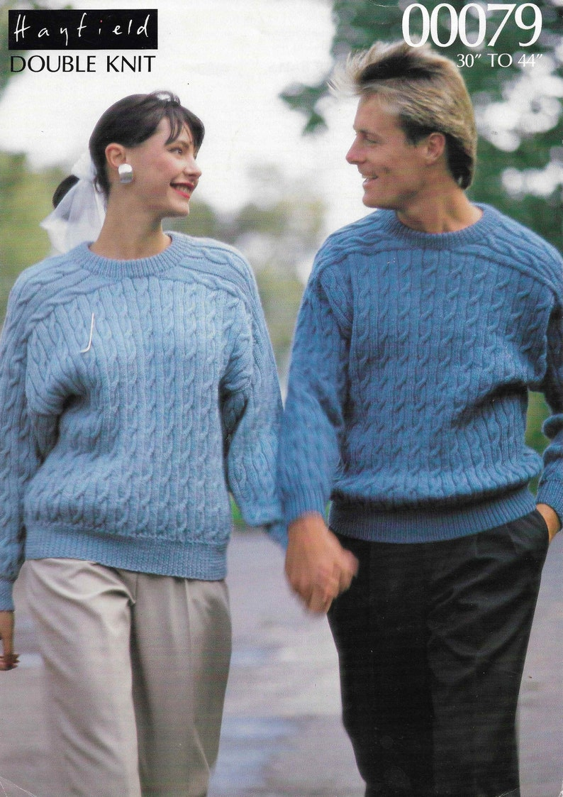 8b4661b99 Women Mans Cable Sweater Knitting Pattern Ladies Mens Cable