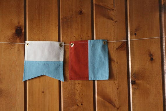 I shall abandon my vessel unless you will stand by me - Nautical Signal  Flag Set - Handmade cotton flags - Custom made-to-order