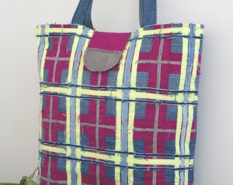 Large Handmade Tartan Denim Tote bag/ Shopping bag
