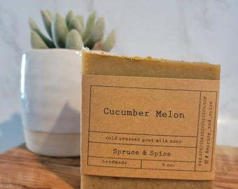 Cucumber Melon   Goat Milk Soap   Goat Milk Bar   Sensitive Skin   Soap Top   Summer Soap   Sweet Scent Soap   Artisan Soap