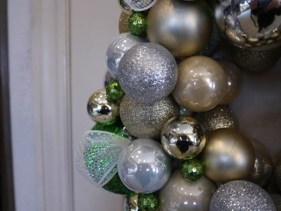 Home Christmas Decor Green Christmas Wreath Christmas Ornament Gold /& Silver Christmas Ball Wreath Free shipping Christmas Wreath