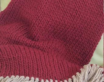 Cozy Chunky Merino Wool Throw Blanket
