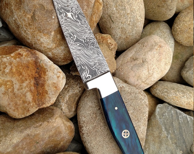 "4.5"" Azure Paring Knife; Twist Pattern Damascus steel, Royal Blue Dyed Rosewood handle"