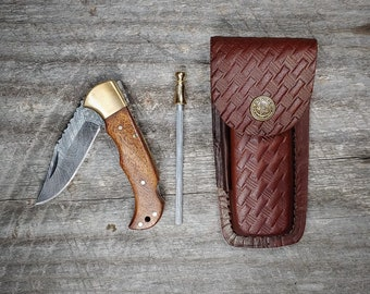 Frontiersman Folding Knife Combo: Includes Sharpening Rod and Leather Belt Sheath!