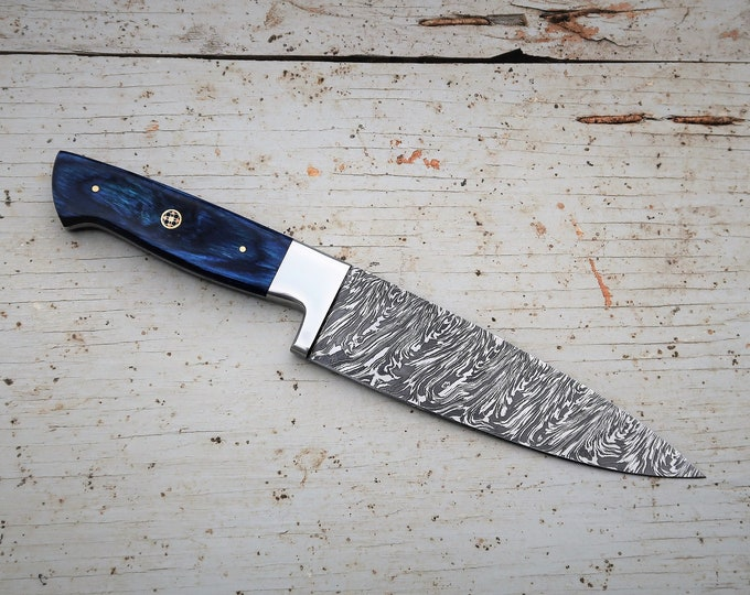 "8"" Azure Chef Knife; Twist Pattern Damascus steel, Royal Blue Dyed Rosewood handle"