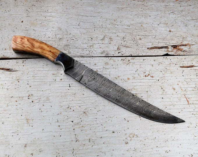 "10"" Olive Carving Knife; Damascus Steel"