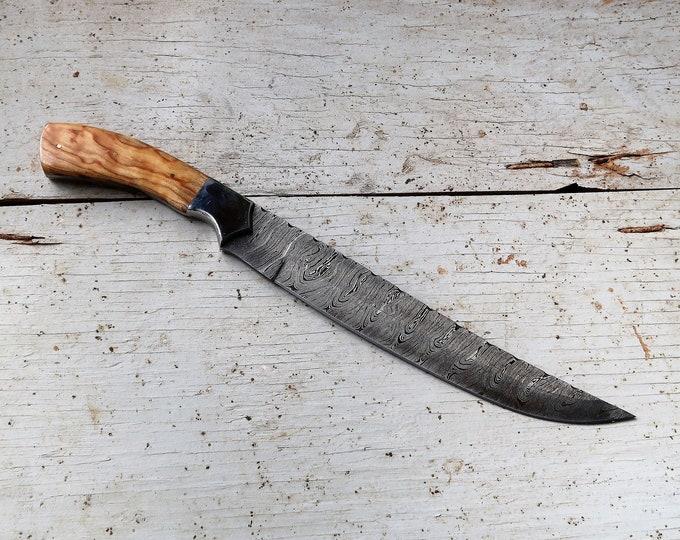 "10"" Olive Carving Knife; Damascus Steel"
