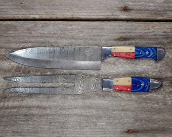Lone Star Carving Set; Damascus Steel