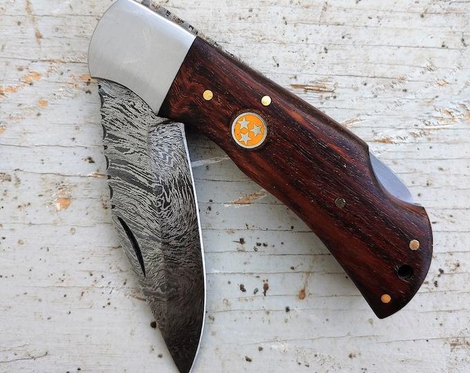 UT Orange Tri-Star & Rosewood Folding Knife