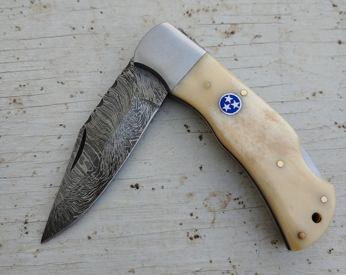 Featured listing image: Blue Tri-Star & Bone Folding Knife
