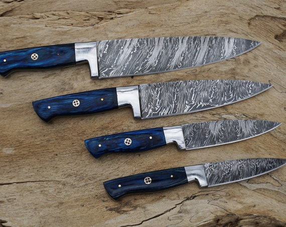Azure Chef Knives; Feather Pattern Damascus steel, Royal Blue Dyed Rosewood handle