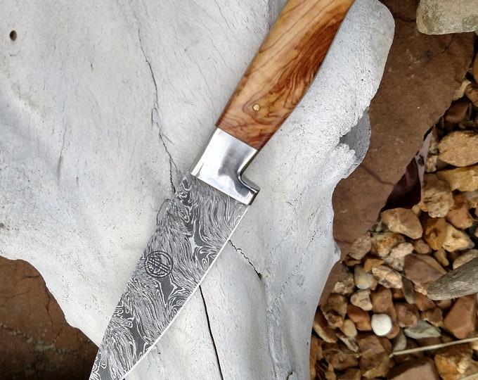 "3.5"" Olive Burl Paring Knife; Twist Pattern Damascus steel"