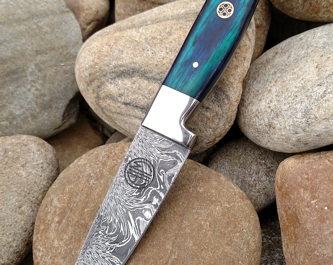 "3.5"" Azure Paring Knife; Twist Pattern Damascus steel, Royal Blue Dyed Rosewood handle"
