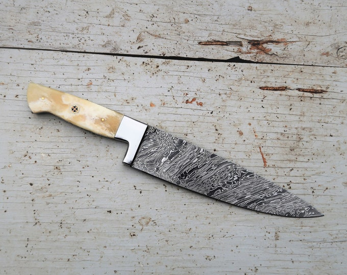 "8"" Bone Chef Knife; Twist Pattern Damascus steel, Natural Bone handle"