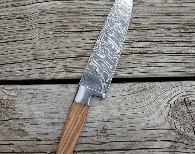"8"" Olive Burl Chef Knife; Twist Pattern Damascus steel"