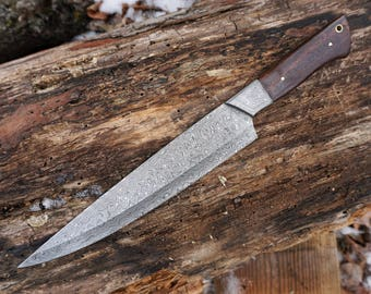 """10"""" Rosewood Tiger Chef Knife; Damascus Steel"""