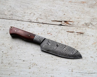 "6"" Butcher Knife, Santoku-style; DS bolster, Twist Damascus steel"
