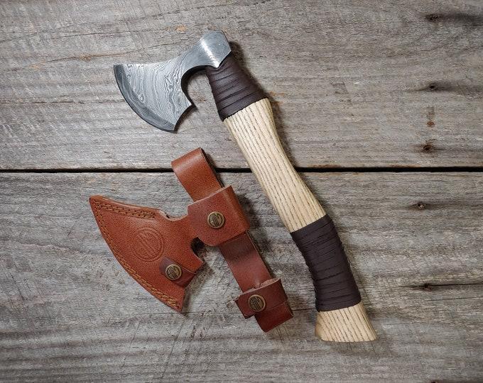 Damascus Viking Hatchet; Ash leather wrapped handle