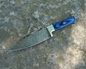 """8"""" Azure Chef Knife; Twist Pattern Damascus steel, Royal Blue Dyed Rosewood handle"""