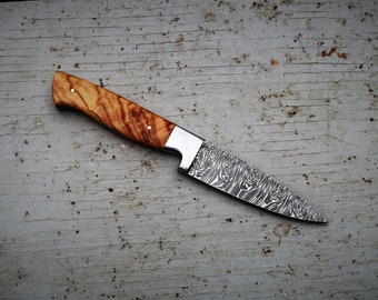 "3.5"" Olive Burl Paring Knife; Twist Pattern Damascus steel"