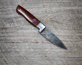 "3.5"" Tri-star Rosewood Chef Knife; Twist Pattern Damascus steel, Natural Rosewood handle"