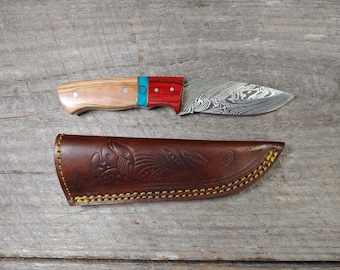 The Duke Skinner; OTR handle; Damascus Steel