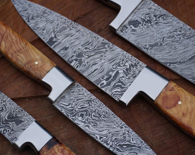 "6"" Olive Burl Chef Knife; Twist Pattern Damascus steel"